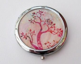 Compact Mirror, Original Tree Design, Tree Mirror, Purse Mirror