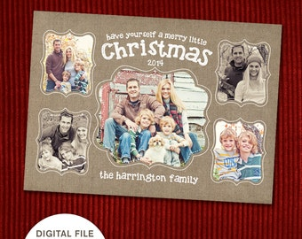 "Multi-Photo Christmas Card  - ""Merry Little Christmas"""