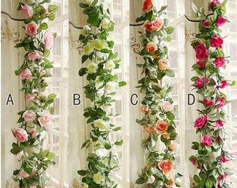 flower ivy garland 86artificial silk rose garland 2 strands fake flower ivy leaf vine - Silk Arrangements For Home Decor 2