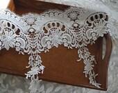 off white Venise Lace Trim, wide bridal trim lace, crochet floral lace trim