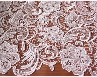 pink lace fabric, crochted lace fabric, retro floral lace fabric, lace fabric, bridesmaid lace fabric, costume lace fabric
