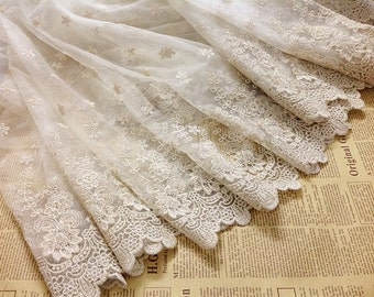 ivory Embroidered lace fabric, retro flower lace fabric, cotton lace fabric