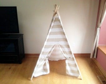 Teepee Beige and White Stripe Kids Tent -  Neutral kids room decor- play fort  Indoor Outdoor Teepee