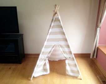PlayTeepee Beige and White Stripe Kids Tent - Play toy, toddler toys play fort  Indoor Outdoor Teepee
