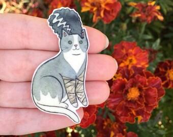 Halloween Cat Brooch Bride of Frankenstein Cat Pin -  cat pin - Halloween Pin - cat jewellery-Unique Boutonnière