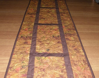 Quilted Table Runner Fall Leaves Quilted Table Topper Burnt Orange Rust Green Quilt