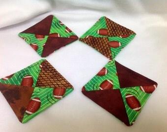 Coasters ~ Fabric Coasters ~ Set of 4 ~ Green & Brown Football Material ~ Wine Glass Coasters ~ Handmade