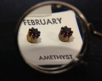 Vintage 1960's Birthstone Earrings - FEBRUARY (ABX1D)
