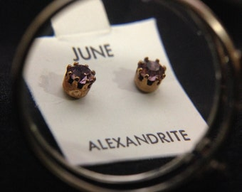 1960's Birthstone Earrings - JUNE