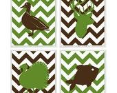 Hunting Nursery Wall Art, Baby Boy Nursery, Deer, Duck, Turkey, Fish, Green Brown Decor, Hunting Nursery Decor, Boy Room Wall Art, Hunter