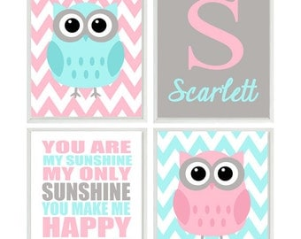 Girl Nursery Art, Owl Nursery, Owl Wall Art, Aqua Pink Gray, You Are My Sunshine Art, Personalized Nursery Art, Chevron, Baby Girl Nursery
