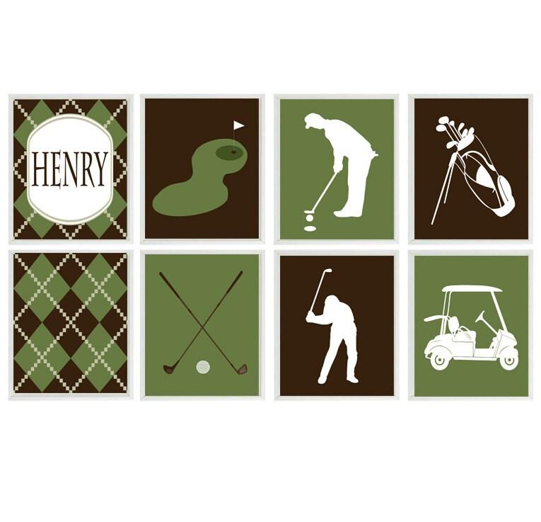Golf Wall Art, Baby Boy Nursery, Golf Room Decor, Golf Nursery, Boy Room  Decor, Green Brown, Personalized Wall Art, Golfer Gift, Sports Room