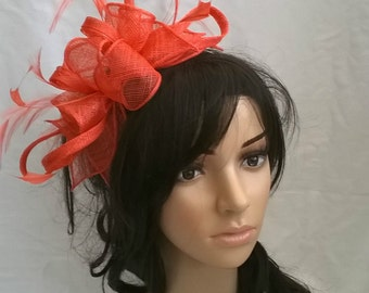 Coral  Fascinator..Sinamay and  Feather rosette Fascinator..on a headband  Coral orange tones