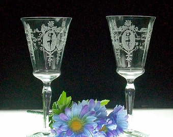 Pair Of Morgantown Sunrise Medallion Etched Water Goblets