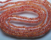 16 Inch Strand, Finest Quality,NATURAL Padparadscha Sapphire Micro Faceted Rondelles Beads 2.75-3mm aprx