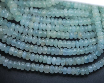 19 Inch Strands,FINEST Quality,Natural Aquamarine Faceted Rondells