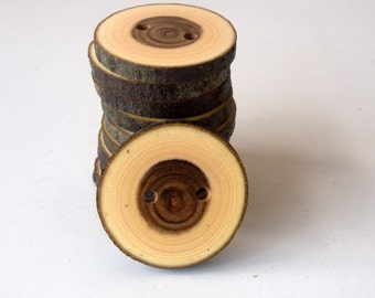 NEW - Wood Buttons - 10 Buttons - Judas Tree Branch Buttons - 1 2/5 inches in diameter - For Crafters - Knitting