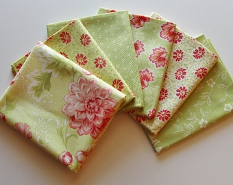 Moda Somerset Artichoke and Citron (green) Fat Quarter bundle - 5 prints, 1.25 yards total