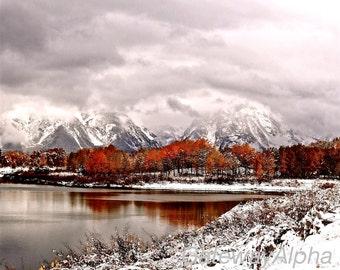 Grand Teton Instant Download Print, Landscape Photography, Fine Art Photography Digital Download, Digital Fall Photo, Winter Print, Wall Art