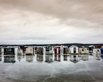The ice shacks on the Kennebecasis