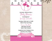 Pink Flamingo Baby Shower Invitations - Pink and Black Flamingo Themed Baby Shower Invitations