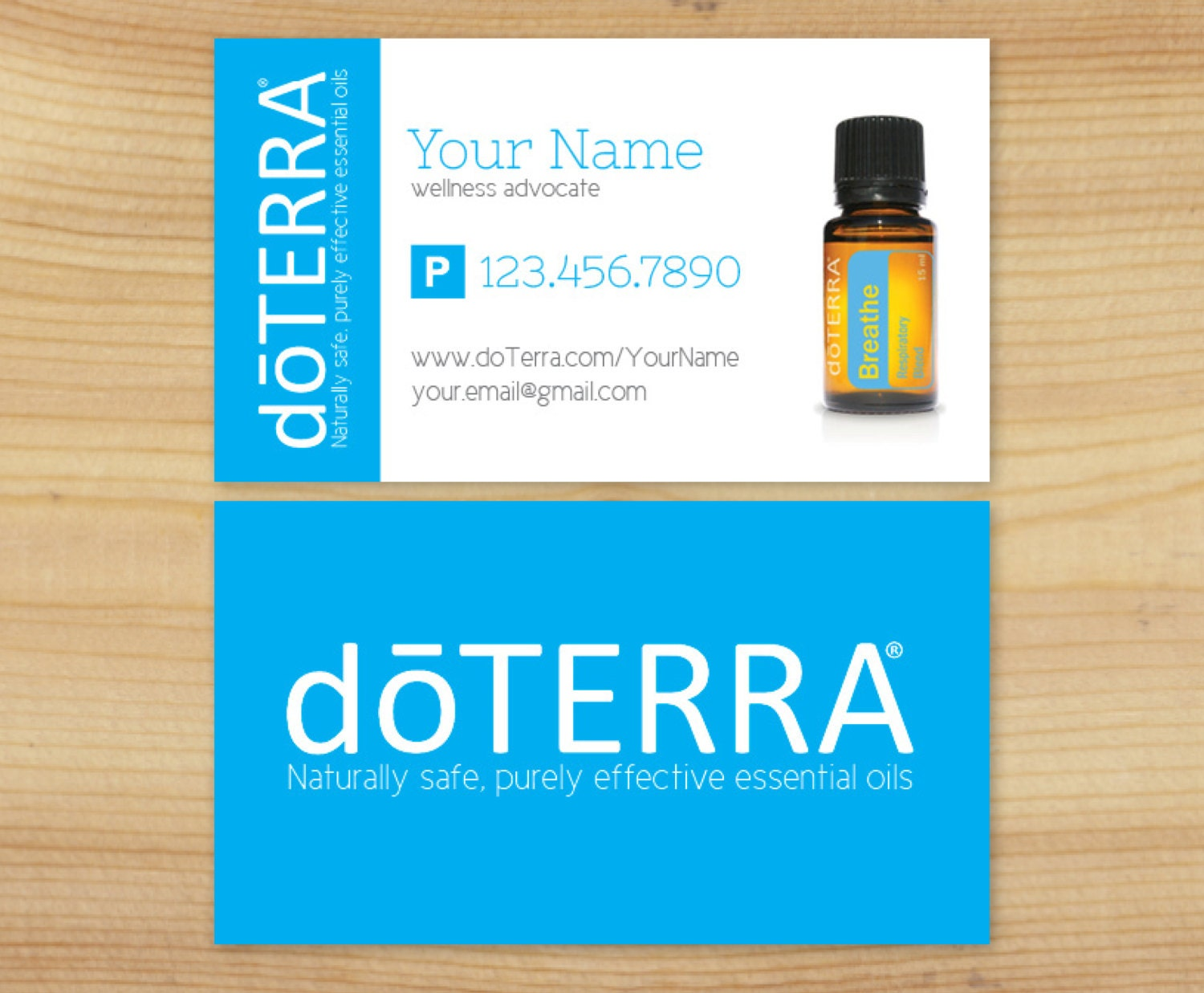 single essential oil bottle business card design by