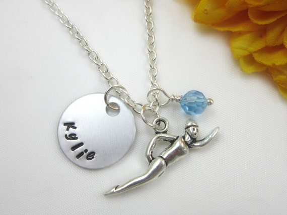 swimmer jewelry swimming necklace swimmer swimming jewelry personalized 6618