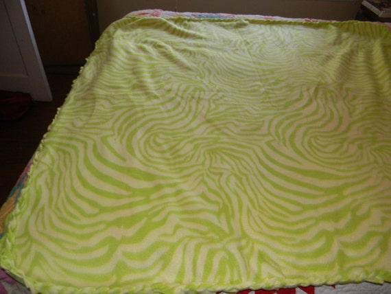large fleece blanket lime green zebra print. Black Bedroom Furniture Sets. Home Design Ideas