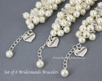 Set of 8 - Ivory Cluster Bracelet, Pearl Bracelet, Ivory Bracelet, Bridesmaid Bracelet, Bridesmaid Gift, Chunky Bracelet