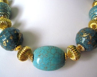 turquiose and gold chunky necklace,    not too big, bold  great summer jewelry.
