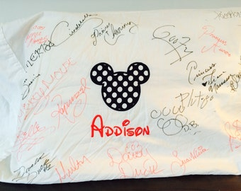 Mickey or Minnie Mouse Disney Pillowcase with Applique and Custom Embroidered Name or Monogram, Great for getting Character Autographs