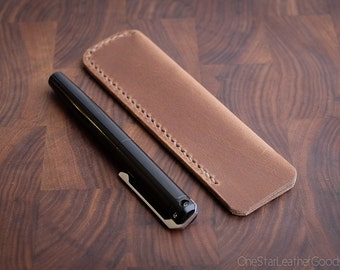 Pen Sleeve size large - hand stitched Horween leather - natural CXL