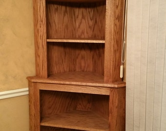 Oak Corner Hutch Cabinet Curio Bookcase Shelf Dishware Display Case