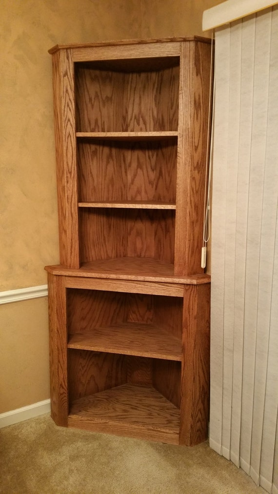 Oak corner hutch cabinet curio bookcase shelf dishware display