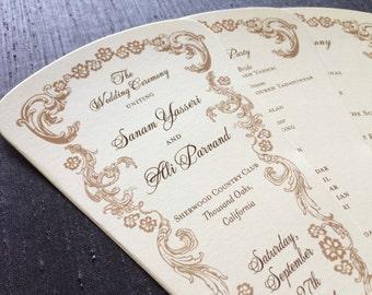 Vintage Fan Wedding Program // Floral Wedding Program // Pretty Fan