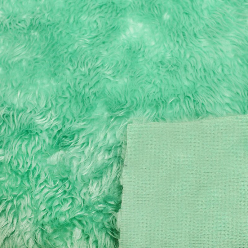 Green Mint Pile Luxury Shag Faux Fur Fabric By The Yard For