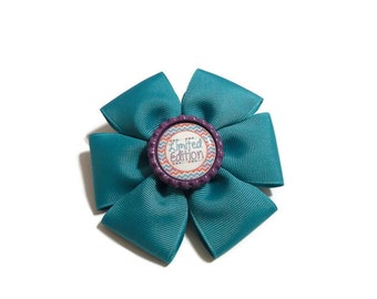 "Sapphire Flat Boutique Bow with ""Limited Edition"" Bottle Cap Center (3 1/2 inches)"