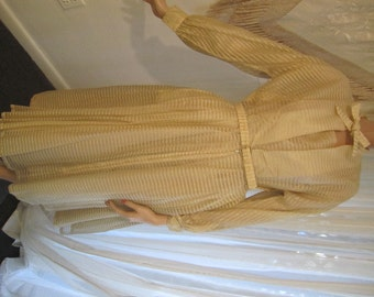 Vintage Pale Cream and Gold Lame Belted Party Dress, Naymor, ca 1950s