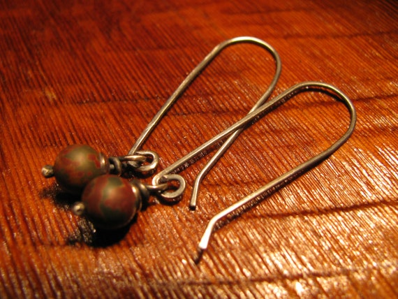 Picasso Jasper and Sterling Silver Earrings Handmade/Hand Forged  Dangle Earrings-ToniRaeCreations