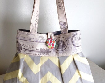 Grey chevron purse/Buttercup chevron purse/petite purse gift idea yellow grey chevron purse bag