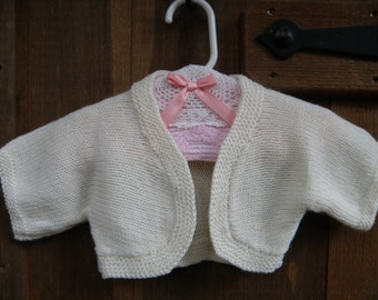 Knitted Baby Girl Shrug, Hand Knit Girls Wool Shrug