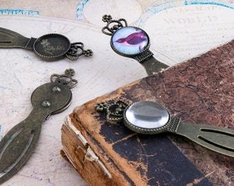 10 Vintage Brass Bookmark Kits - Royal Crown Tops - 20mm Bezel Setting - Bookmark Findings - DIY Bookmark Kit