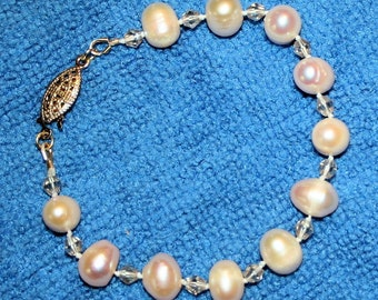 Cultured Pearl & Crystal Hand Knotted Bracelet