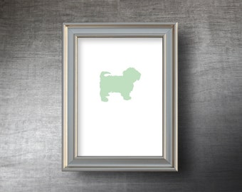 Havanese Print 5x7 - Hand Cut Havanese Silhouette - 4 Color Choices - Personalized Name or Text Optional