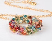 FREE SHIPPING Colorful Rainbow Swarovski Statement Necklace 14K Gold-filled wire Pendant