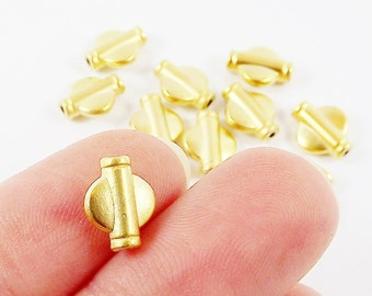 12 Winged Barrel Tube Beads - 22k Matte Gold Plated Brass