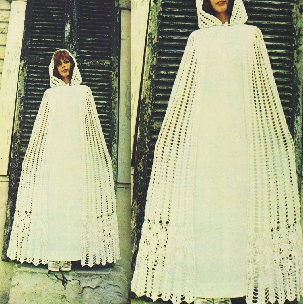 Vintage crochet pattern wedding dress cover bridal coat for Wedding dress patterns free download