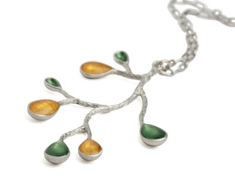 Make Christmas Gifts,Contemporary Fashion Necklace,Delicate Everyday Jewelry,Green Fashion Jewelry,Yellow and Green Necklace,Xmas Gift Ideas