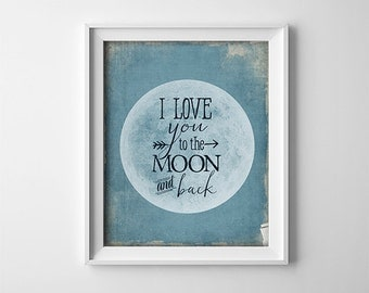 Nursery Art PRINTABLE - Blue and Grey - I Love You To The Moon And Back - Baby Shower Gift - Photo Prop - Sign - Poster - Baby - SKU:524