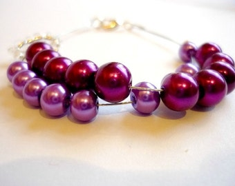 Row counter bracelet for knitting and crochet: abacus, purple glass beads and heart charm, knitting bracelet, knitter's bracelet